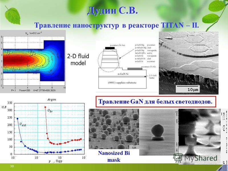30 Дудин С.В. Травление наноструктур в реакторе TITAN – II. 2-D fluid model Травление GaN для белых светодиодов. Nanosized Bi mask