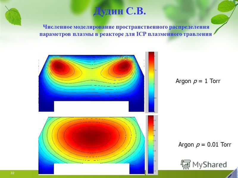 32 Argon p = 1 Torr Argon p = 0.01 Torr Численное моделирование пространственного распределения параметров плазмы в реакторе для ICP плазменного травления Дудин С.В.