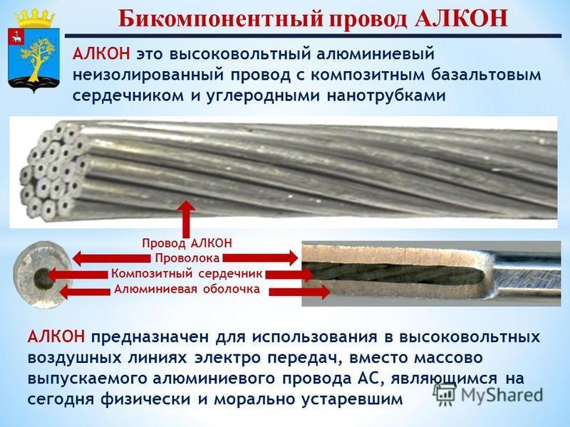 Провод АЛКОН Проволока Композитный сердечник Алюминиевая оболочка АЛКОН это высоковольтный алюминиевый неизолированный провод с композитным базальтовым сердечником и углеродными нанотрубками Бикомпонентный провод АЛКОН АЛКОН предназначен для использо