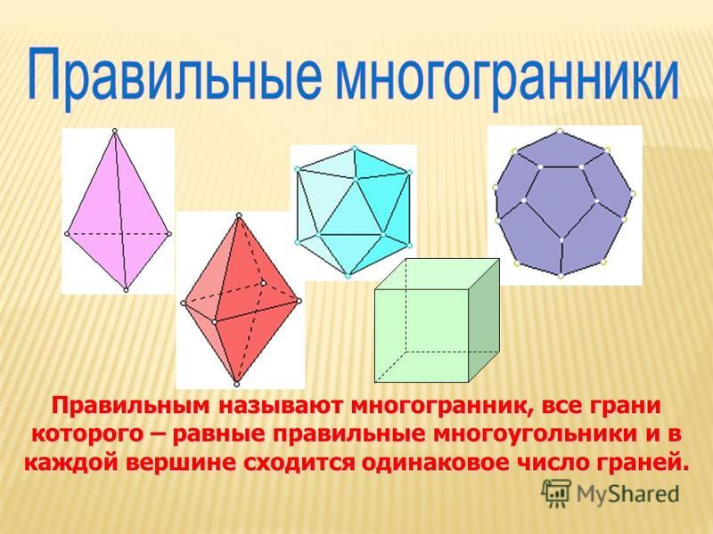 Правильным называют многогранник, все грани которого – равные правильные многоугольники и в каждой вершине сходится одинаковое число граней.
