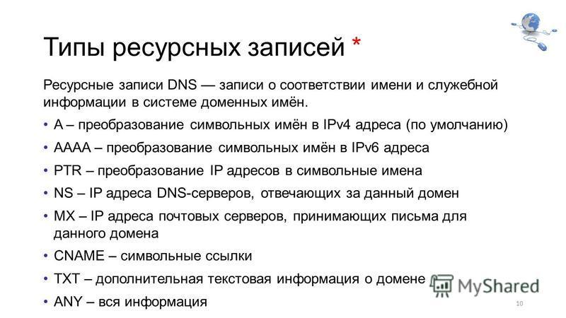 Типы ресурсных записей * Ресурсные записи DNS записи о соответствии имени и служебной информации в системе доменных имён. A – преобразование символьных имён в IPv4 адреса (по умолчанию) AAAA – преобразование символьных имён в IPv6 адреса PTR – преобр
