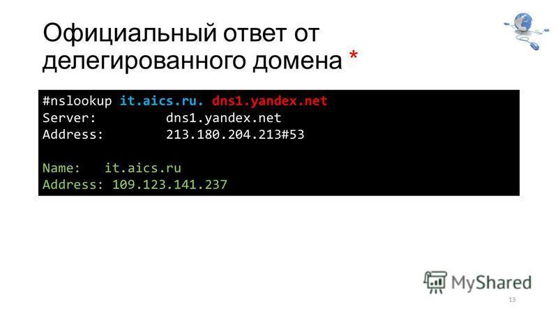 Официальный ответ от делегированного домена * 13 #nslookup it.aics.ru. dns1.yandex.net Server: dns1.yandex.net Address: 213.180.204.213#53 Name: it.aics.ru Address: 109.123.141.237