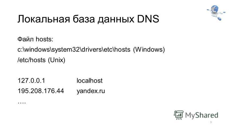 Локальная база данных DNS Файл hosts: c:\windows\system32\drivers\etc\hosts (Windows) /etc/hosts (Unix) 127.0.0.1 localhost 195.208.176.44yandex.ru …. 3