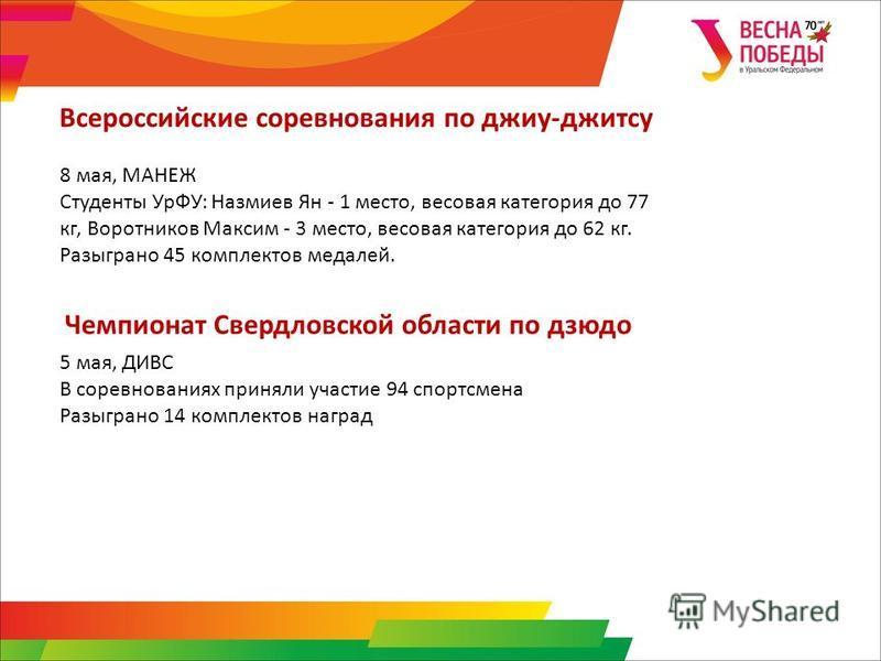 8 мая, МАНЕЖ Студенты УрФУ: Назмиев Ян - 1 место, весовая категория до 77 кг, Воротников Максим - 3 место, весовая категория до 62 кг. Разыграно 45 комплектов медалей. Всероссийские соревнования по джиу-джитсу 5 мая, ДИВС В соревнованиях приняли учас