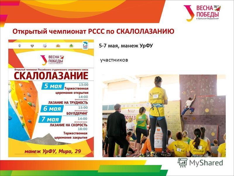 Открытый чемпионат РССС по СКАЛОЛАЗАНИЮ 5-7 мая, манеж УрФУ участников
