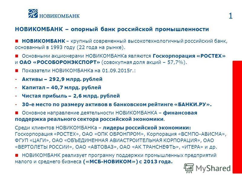1 НОВИКОМБАНК – опорный банк российской промышленности НОВИКОМБАНК – крупный современный высокотехнологичный российский банк, основанный в 1993 году (22 года на рынке). Основными акционерами НОВИКОМБАНКа являются Госкорпорация «РОСТЕХ» и ОАО «РОСОБОР