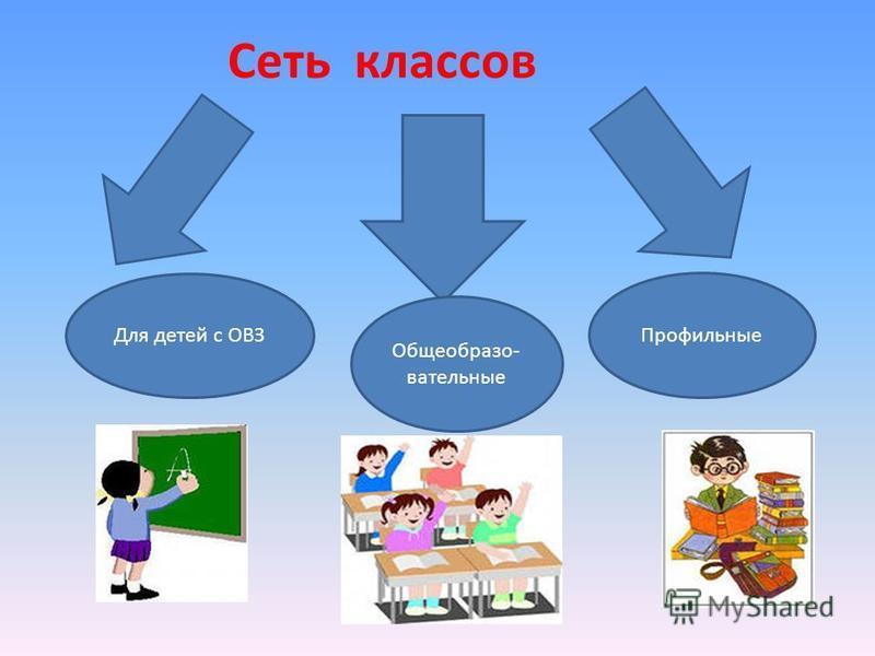 Сеть классов Для детей с ОВЗ Общеобразо- вательные Профильные