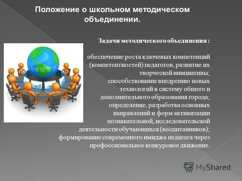Положение о школьном методическом объединении. Задачи методического объединения : обеспечение роста ключевых компетенций (компетентностей) педагогов, развитие их творческой инициативы; способствование внедрению новых технологий в систему общего и доп