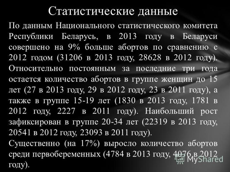 Статистические данные По данным Национального статистического комитета Республики Беларусь, в 2013 году в Беларуси совершено на 9% больше абортов по сравнению с 2012 годом (31206 в 2013 году, 28628 в 2012 году). Относительно постоянным за последние т