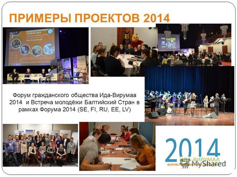 Форум гражданского общества Ида-Вирумаа 2014 и Встреча молодёжи Балтийский Стран в рамках Форума 2014 (SE, FI, RU, EE, LV) ПРИМЕРЫ ПРОЕКТОВ 2014