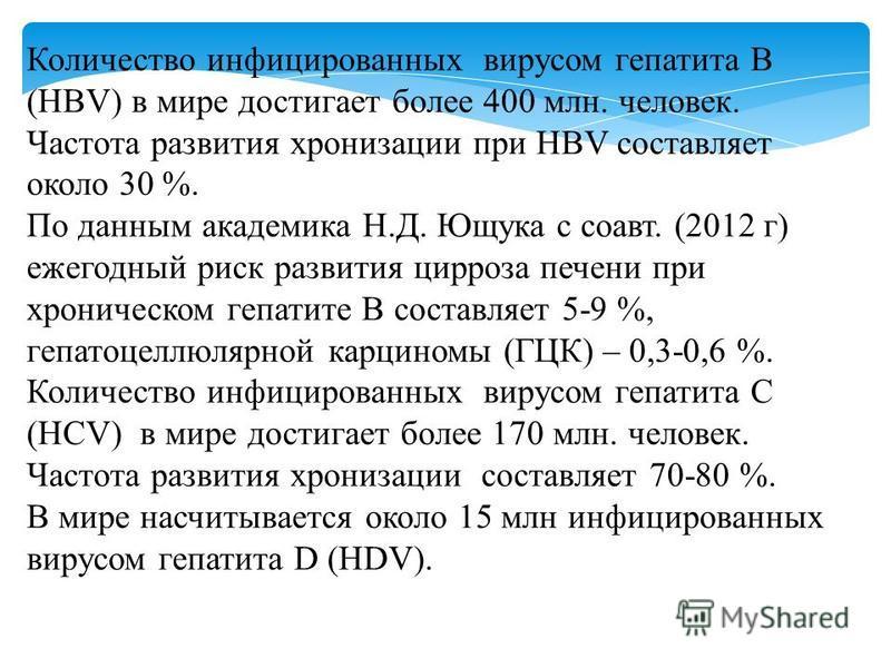 Количество инфицированных вирусом гепатита В (HBV) в мире достигает более 400 млн. человек. Частота развития хронизации при HBV составляет около 30 %. По данным академика Н.Д. Ющука с соавт. (2012 г) ежегодный риск развития цирроза печени при хрониче