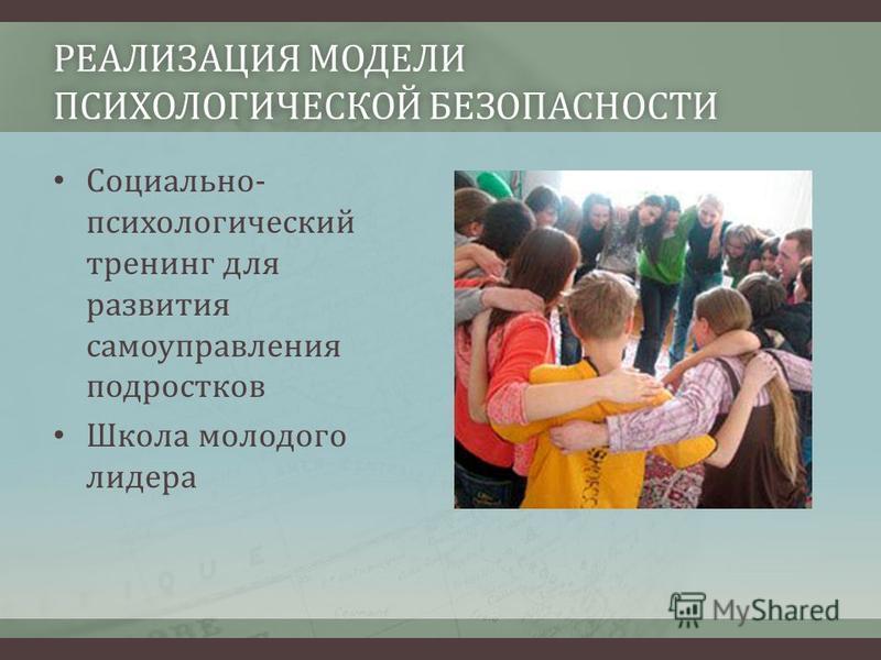 РЕАЛИЗАЦИЯ МОДЕЛИ ПСИХОЛОГИЧЕСКОЙ БЕЗОПАСНОСТИ Социально- психологический тренинг для развития самоуправления подростков Школа молодого лидера