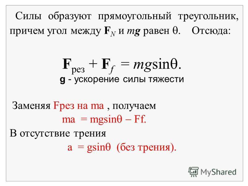 Силы образуют прямоугольный треугольник, причем угол между F N и mg равен. Отсюда: Заменяя Fрез на ma, получаем ma = mgsin Ff. В отсутствие трения a = gsin (без трения). F рез + F f = mgsin. g - ускорение силы тяжести