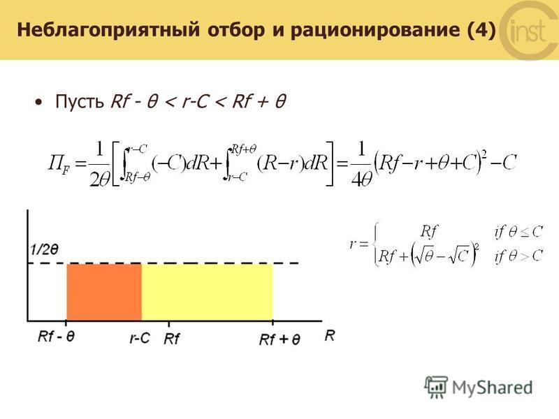 Неблагоприятный отбор и рационирование (4) Пусть Rf - θ < r-C < Rf + θ