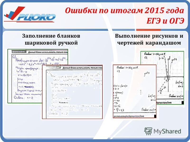 Ошибки по итогам 2015 года ЕГЭ и ОГЭ Заполнение бланков шариковой ручкой Выполнение рисунков и чертежей карандашом