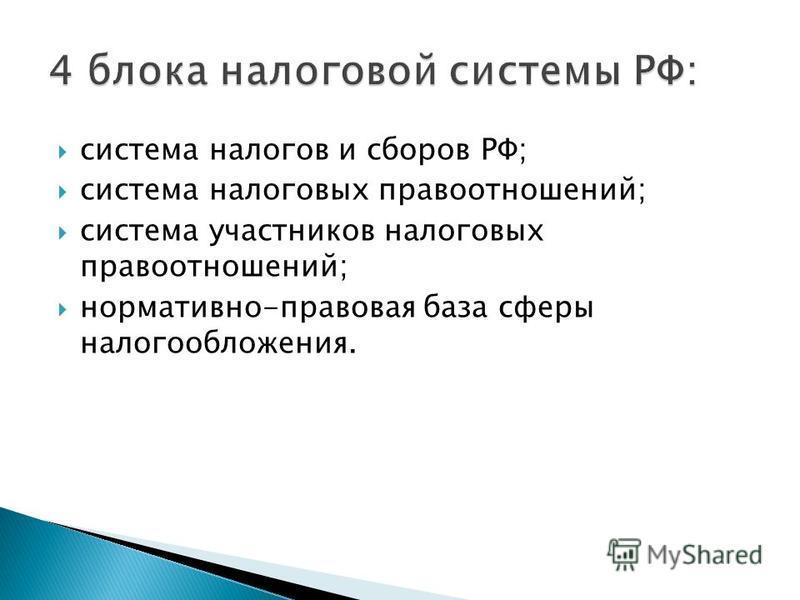 система налогов и сборов РФ; система налоговых правоотношений; система участников налоговых правоотношений; нормативно-правовая база сферы налогообложения.
