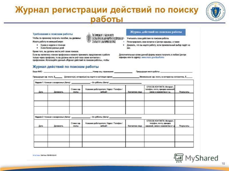 Журнал регистрации действий по поиску работы 18