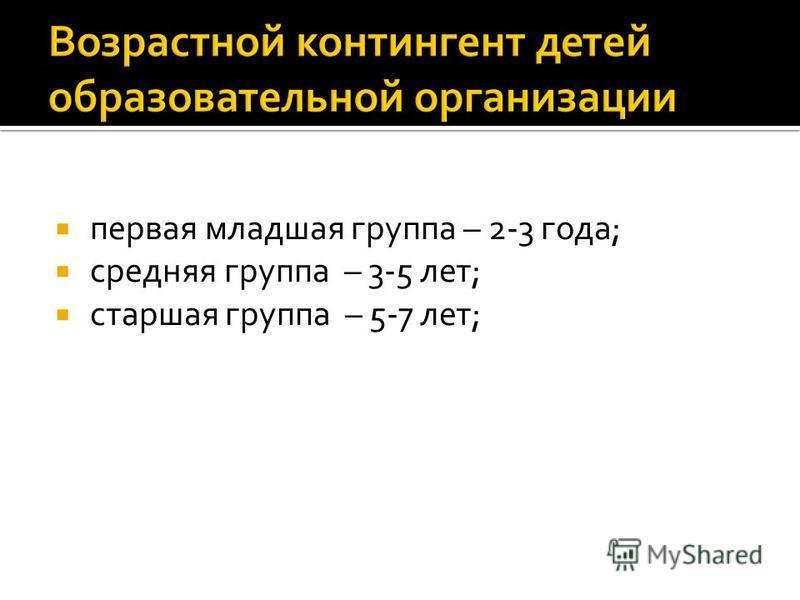 первая младшая группа – 2-3 года; средняя группа – 3-5 лет; старшая группа – 5-7 лет;