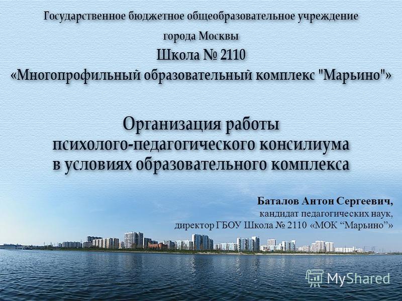 Баталов Антон Сергеевич, кандидат педагогических наук, директор ГБОУ Школа 2110 «МОК Марьино»