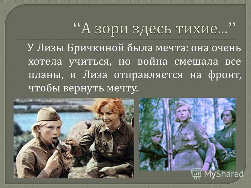 У Лизы Бричкиной была мечта : она очень хотела учиться, но война смешала все планы, и Лиза отправляется на фронт, чтобы вернуть мечту.