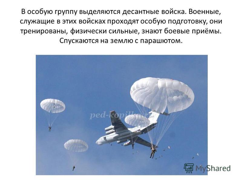 В особую группу выделяются десантные войска. Военные, служащие в этих войсках проходят особую подготовку, они тренированы, физически сильные, знают боевые приёмы. Спускаются на землю с парашютом.