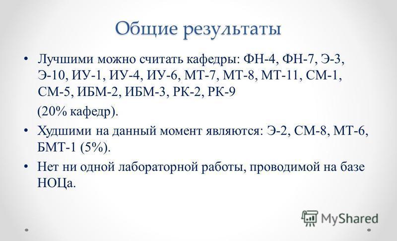 Общие результаты Лучшими можно считать кафедры: ФН-4, ФН-7, Э-3, Э-10, ИУ-1, ИУ-4, ИУ-6, МТ-7, МТ-8, МТ-11, СМ-1, СМ-5, ИБМ-2, ИБМ-3, РК-2, РК-9 (20% кафедр). Худшими на данный момент являются: Э-2, СМ-8, МТ-6, БМТ-1 (5%). Нет ни одной лабораторной р