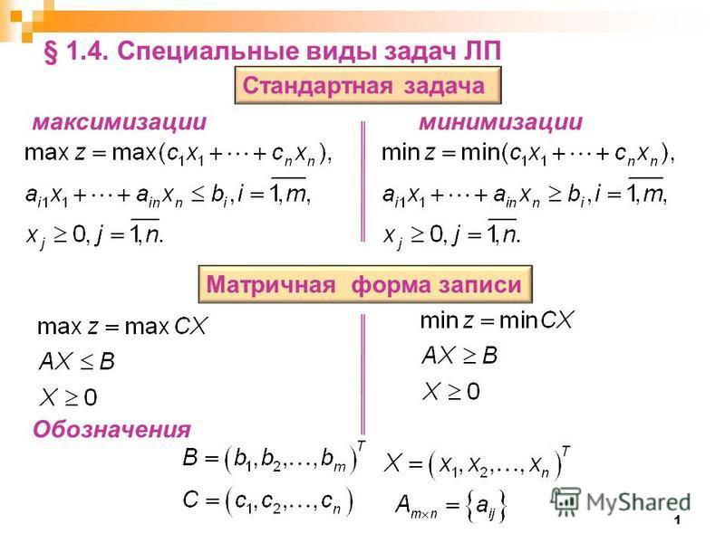1 Стандартная задача Матричная форма записи § 1.4. Специальные виды задач ЛП максимизации минимизации Обозначения