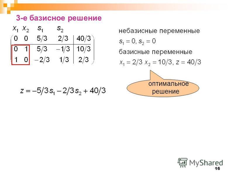 16 3-е базисное решение оптимальное решение