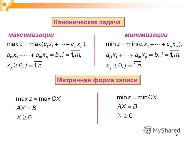 2 Каноническая задача Матричная форма записи максимизации минимизации