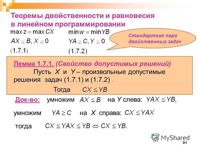 умножим на Y слева: 31 Теоремы свойственности и равновесия в линейном программировании умножим на X справа: Лемма 1.7.1. (Свойство допустимых решений) Пусть X и Y – произвольные допустимые решения задач (1.7.1) и (1.7.2). Тогда Док-во: тогда Стандарт