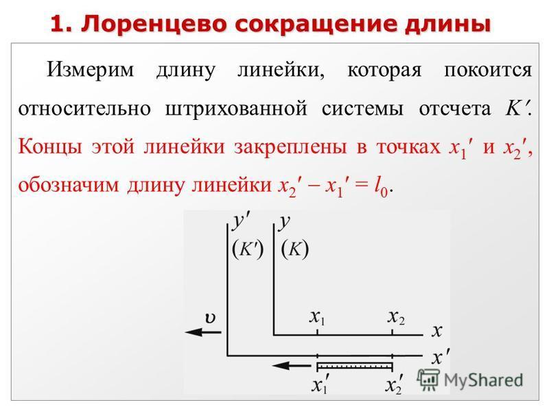 1. Лоренцево сокращение длины Измерим длину линейки, которая покоится относительно штрихованной системы отсчета K. Концы этой линейки закреплены в точках x 1 и х 2, обозначим длину линейки х 2 х 1 = l 0.