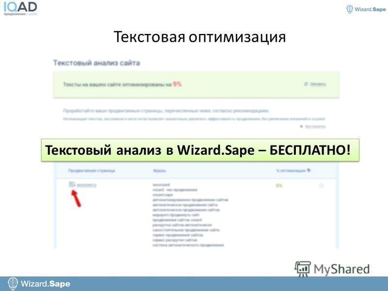 Текстовый анализ в Wizard.Sape – БЕСПЛАТНО!