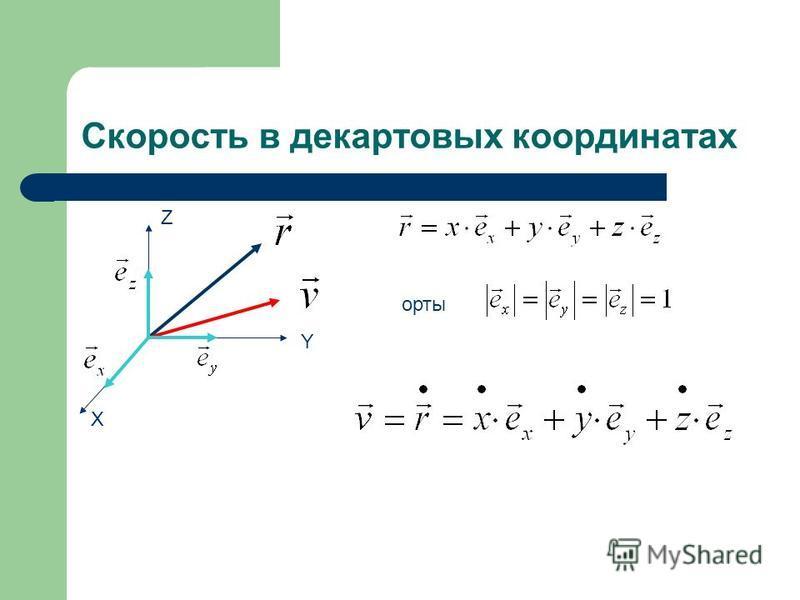 Скорость в декартовых координатах Z X Y орты