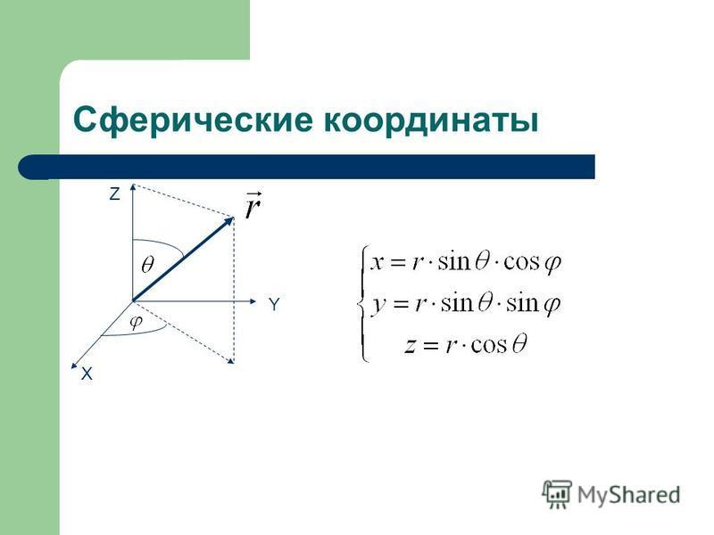 Сферические координаты X Y Z