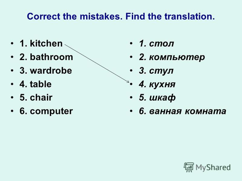 Correct the mistakes. Find the translation. 1. kitchen 2. bathroom 3. wardrobe 4. table 5. chair 6. computer 1. стол 2. компьютер 3. стул 4. кухня 5. шкаф 6. ванная комната