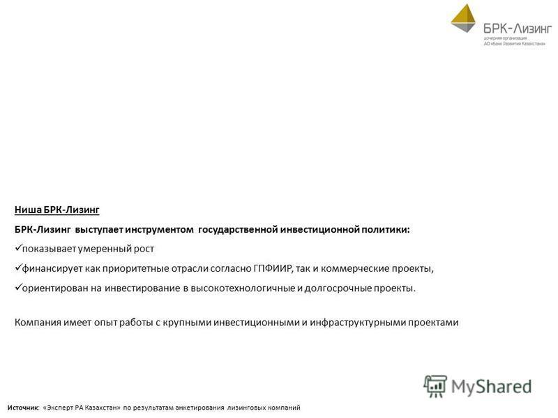Источник: «Эксперт РА Казахстан» по результатам анкетирования лизинговых компаний Ниша БРК-Лизинг БРК-Лизинг выступает инструментом государственной инвестиционной политики: показывает умеренный рост финансирует как приоритетные отрасли согласно ГПФИИ