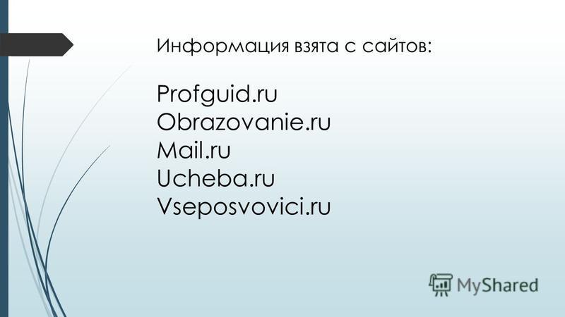 Информация взята с сайтов: Profguid.ru Obrazovanie.ru Mail.ru Ucheba.ru Vseposvovici.ru