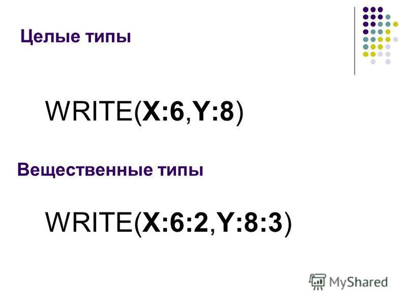 Целые типы Вещественные типы WRITE(X:6:2,Y:8:3) WRITE(X:6,Y:8)