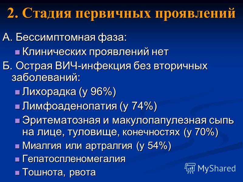 2. Стадия первичных проявлений А. Бессимптомная фаза: Клинических проявлений нет Клинических проявлений нет Б. Острая ВИЧ-инфекция без вторичных заболеваний: Лихорадка (у 96%) Лихорадка (у 96%) Лимфоаденопатия (у 74%) Лимфоаденопатия (у 74%) Эритемат
