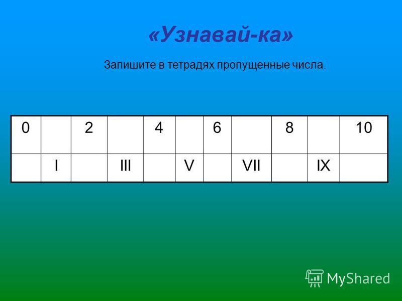 «Узнавай-ка» 0246810 IIIIVVIIIX Запишите в тетрадях пропущенные числа.