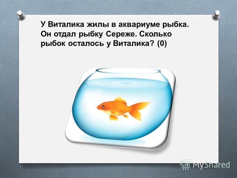 У Виталика жилы в аквариуме рыбка. Он отдал рыбку Сереже. Сколько рыбок осталось у Виталика ? (0)