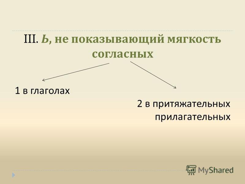 III. Ь, не показывающий мягкость согласных 1 в глаголах 2 в притяжательных прилагательных