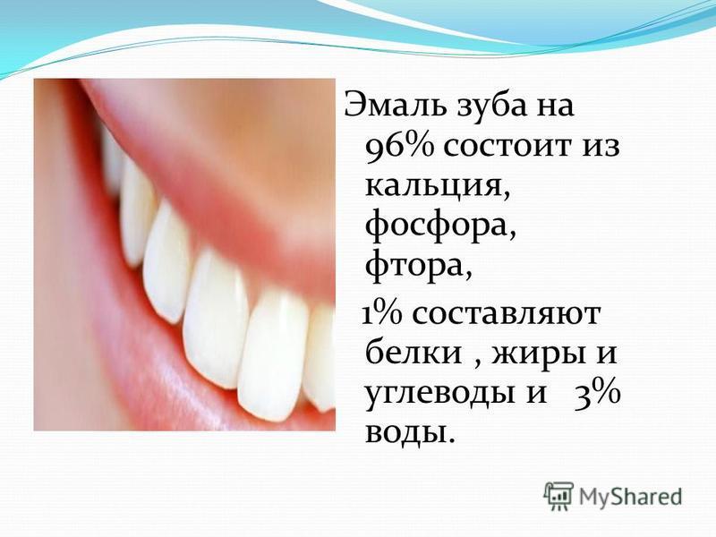 Эмаль зуба на 96% состоит из кальция, фосфора, фтора, 1% составляют белки, жиры и углеводы и 3% воды.