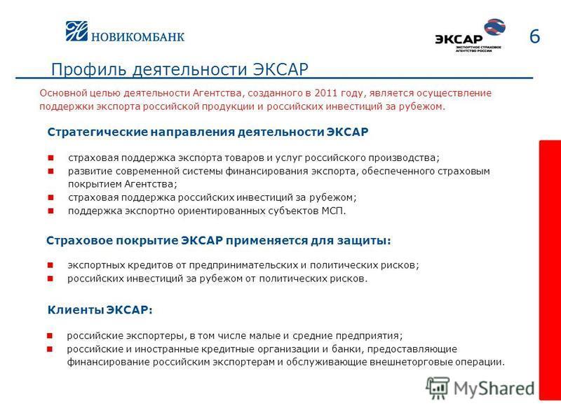 Профиль деятельности ЭКСАР страховая поддержка экспорта товаров и услуг российского производства; развитие современной системы финансирования экспорта, обеспеченного страховым покрытием Агентства; страховая поддержка российских инвестиций за рубежом;