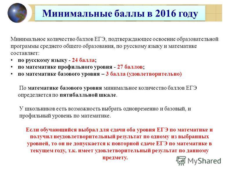 Минимальное количество баллов ЕГЭ, подтверждающее освоение образовательной программы среднего общего образования, по русскому языку и математике составляет: по русскому языку - 24 балла; по математике профильного уровня - 27 баллов; по математике баз