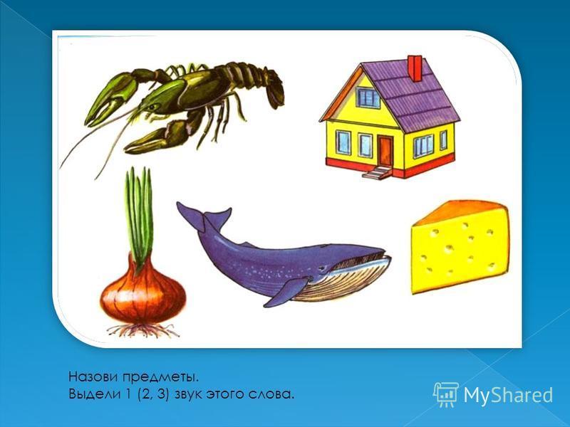 Назови предметы. Выдели 1 (2, 3) звук этого слова.