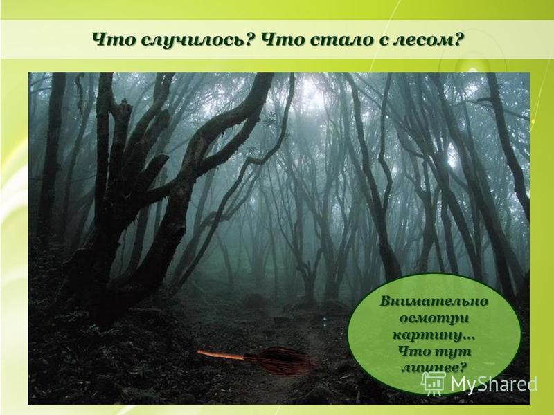 Что случилось? Что стало с лесом? Внимательно осмотри картину… Что тут лишнее?