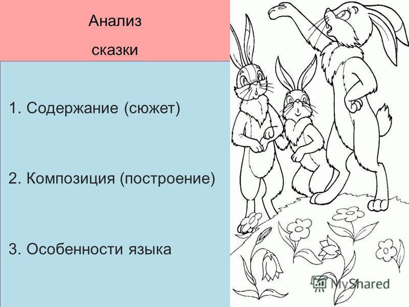 Анализ сказки 1. Содержание (сюжет) 2. Композиция (построение) 3. Особенности языка