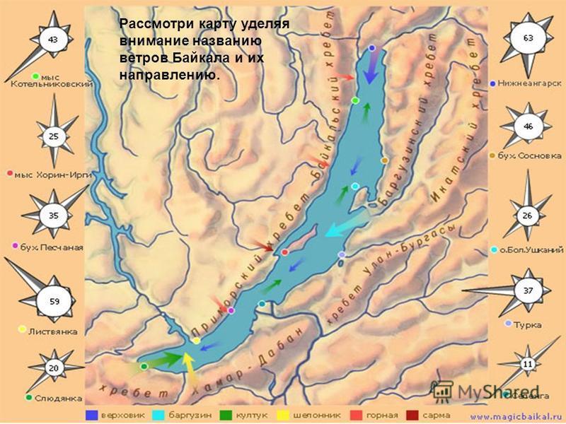 Рассмотри карту уделяя внимание названию ветров Байкала и их направлению.