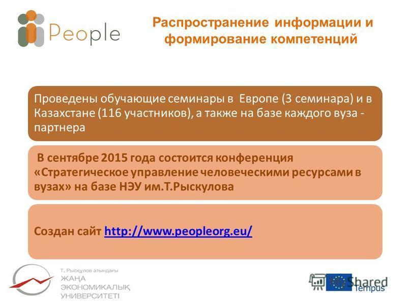 Распространение информации и формирование компетенций Проведены обучающие семинары в Европе (3 семинара) и в Казахстане (116 участников), а также на базе каждого вуза - партнера В сентябре 2015 года состоится конференция «Стратегическое управление че